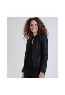 Jaqueta Feminina Com Bolsos Preto
