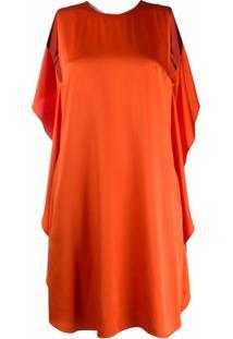 Stella Mccartney Vestido Com Pregas E Babados - Laranja