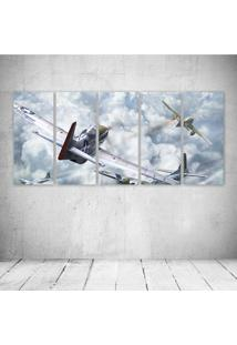 Quadro Decorativo - World Of Warplanes American Planes - Composto De 5 Quadros