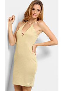 Vestido Com Lurex Triton Feminino - Feminino-Amarelo