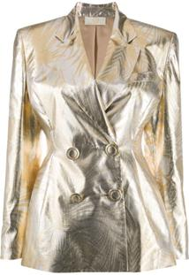 Sara Battaglia Blazer Metálico Com Botões Duplos - Dourado