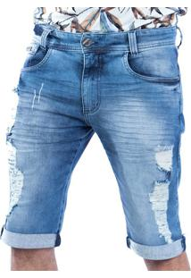 Bermuda Jeans Carlan Destroyed Barra Dobrada