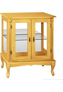 Cristaleira Baixa 2 Portas De Vidro Pés Luiz Xv 1054-E 92 X 80 X 40 Amarelo - Urbe Móveis
