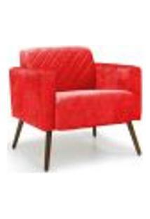 Poltrona Decorativa Para Sala De Estar E Recepção Alberta D02 Suede Vermelho Tressê B-173 - Lyam Decor