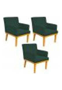 Kit 03 Poltronas Decorativa Para Sala De Estar Base Mel Beatriz W01 Suede Verde Musgo - Lyam Decor