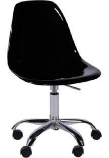 Cadeira Eames Com Rodízios Preta