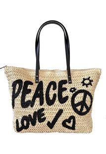 Bolsa Its! Shopper Palha Peace Love Preta - Bege/Caramelo/Multicolorido/Off-White/Preto - Feminino - Dafiti
