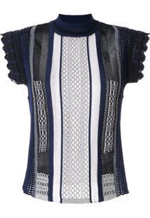 Mame Kurogouchi Blusa De Tricô Com Recortes - Azul