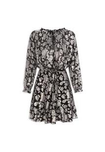 Vestido Flower Foil Long Sleeve - Preto