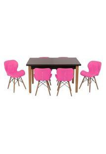 Conjunto Mesa De Jantar Luiza 135Cm Preta Com 6 Cadeiras Slim - Rosa