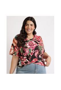 Blusa Feminina Plus Size Estampada Floral Manga Curta Decote Redondo Preta