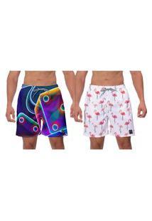 Kit 2 Shorts Moda Praia Fusion Flamingos Estampado Poliéster Elastano Caminhada Esporte Academia Banho Surf W2