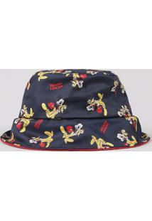 Chapéu Infantil Mickey E Pluto Estampado Azul Marinho