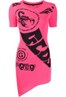 Gcds Vestido Reto Com Estampa De Logo - Rosa