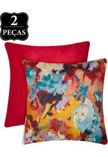 Kit Capas De Almofada Decortextil Suede 2 Peças Multicolorido