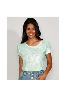 Camiseta Feminina Estampada De Folhagem Manga Curta Decote Redondo Verde Água