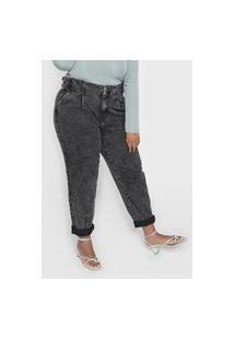 Calça Jeans Forever 21 Plus Mom Estonada Preta