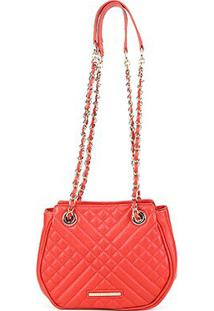 Bolsa Couro Jorge Bischoff Mini Bag Matelassê Feminina - Feminino-Coral