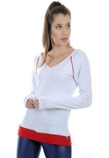 Camiseta Manga Longa Pinyx Shine Branco E Vermelho - Kanui