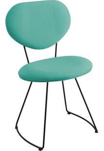 Cadeira Milao Aço T1130 Linho Daf Azul Turquesa