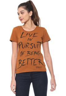 Camiseta Colcci Lettering Caramelo