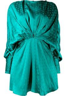 The Attico Vestido Drapeado Com Estampa - Verde