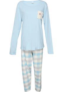Pijama Pzama Xadrez Azul