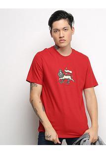 Camiseta Cavalera T Shirt Leão De Judah Masculina - Masculino-Vermelho