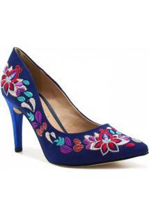 Sapato Tanara Scarpin Bordado Floral