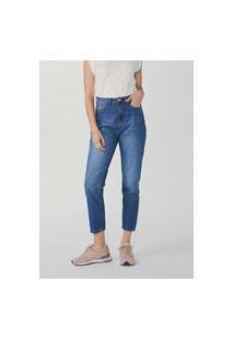 Calça Feminina Mom Em Jeans De Algodão Com Bolsos