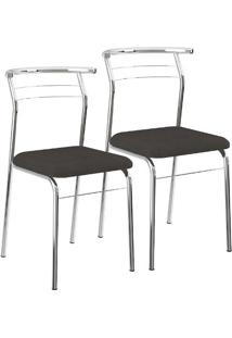 Mesa 1527 Vidro Incolor Cromada Com 4 Cadeiras 1708 Cromada Preta Carraro