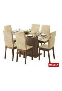 Conjunto Sala De Jantar Valentina Madesa Mesa Tampo De Vidro Com 6 Cadeiras Rustic/Suede Imperial Rustic/Suede Imperial