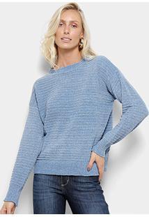 Suéter Tricot Facinelli Lurex Feminino - Feminino-Azul