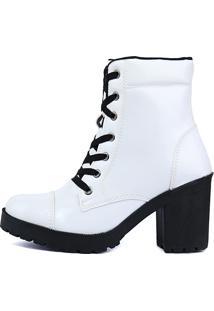 Bota Cr Shoes Tratorada Com Zíper Verniz Branco