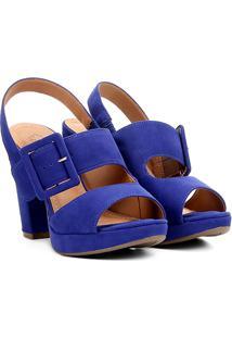 Sandália Meia Pata Bebecê Em Suede Salto Grosso - Feminino-Azul