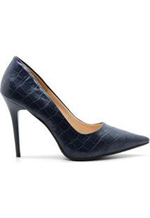 Scarpin Royalz Croco Penélope Feminino - Feminino-Azul Escuro