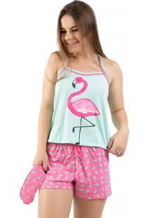 Baby Doll Flamingo Com Tapa Olho 4 Estações Adulto Verde