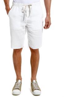 Bermuda John John Straight Singapura Sarja Off White Masculina (Off White, 36)