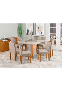 Conjunto De Mesa De Jantar Com Tampo Giratã³Rio Jãºlia E 6 Cadeiras Caroline Animalle Off White E Cinza