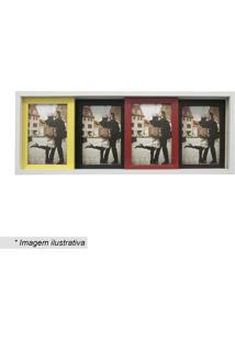 Painel Slide Para 4 Fotos- Branco & Amarelo- 19X50Cmkapos