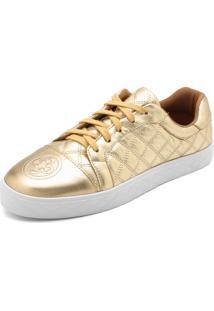 623f7835b0 ... Tênis Couro Capodarte Matelassê Dourada