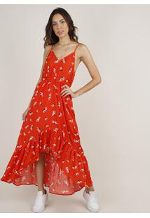 Vestido Feminino Longo Mullet Estampado Floral Alça Fina Laranja
