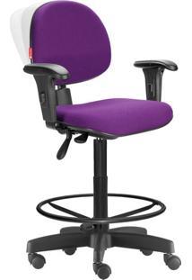 Cadeira Caixa Alta Ergonômica Nr17 Crepe Roxo