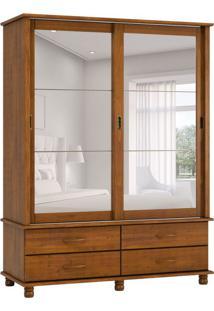 Guarda-Roupa Casal Com Espelho Esmeralda 2Pt Imbuia