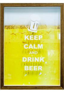 Quadro Porta Tampa Em Madeira Keep Calm And Drink Beer 27X37Cm Amarelo