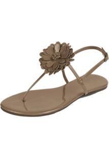 Rasteira Mercedita Shoes Flor Verniz Areia
