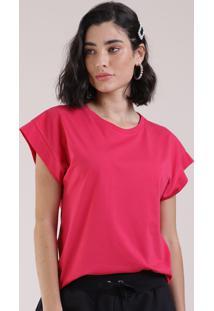 Blusa Feminina Básica Muscle Tee Manga Curta Com Recorte Decote Redondo Pink