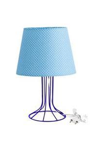Abajur Torre Dome Azul/Bolinha Com Aramado Azul