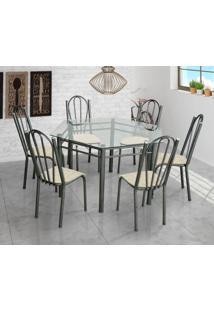 Conjunto De Mesa Com 6 Cadeiras Lorena Craqueado Preto E Estampa Rattan