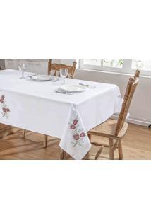 Toalha De Mesa Primavera 1,40X1,40 Branco/Vermelho Guga Tapetes